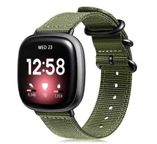 Strap-it® Strap-it® Fitbit Versa 3 nylon gesp band (groen)