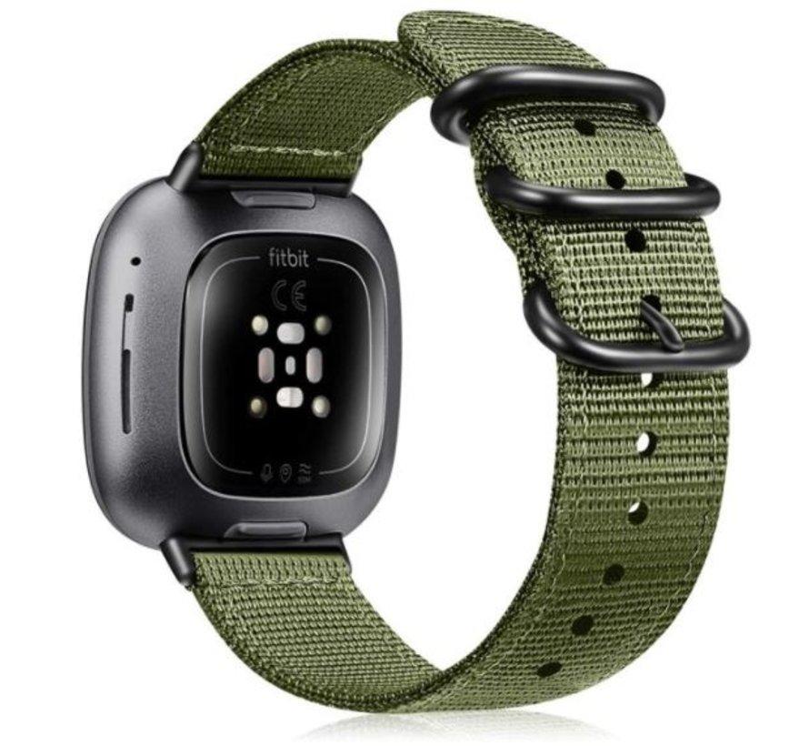 Strap-it® Fitbit Sense nylon gesp band (groen)