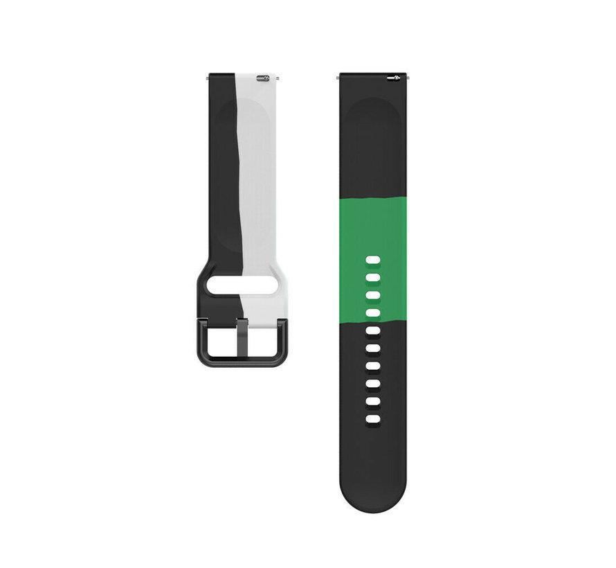 Strap-it® Samsung Galaxy Watch 42mm triple sport band (zwart-wit-groen)