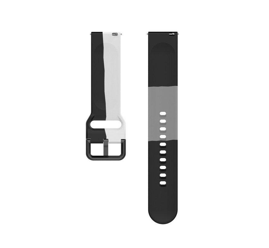 Strap-it® Samsung Galaxy Watch 42mm triple sport band (zwart-wit-grijs)