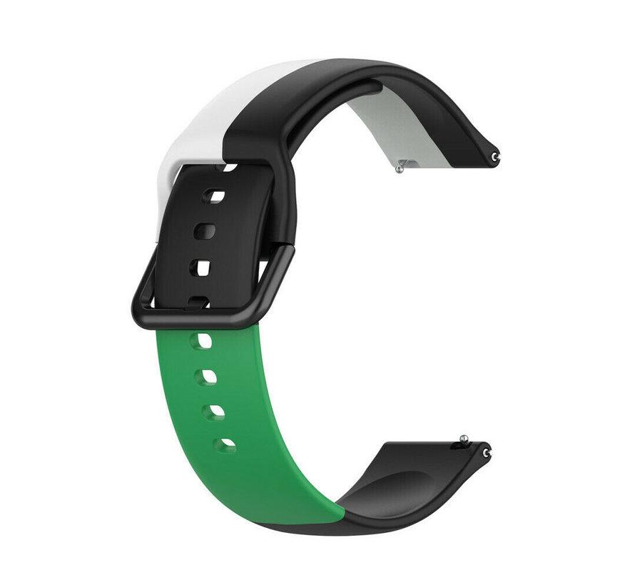 Strap-it® Samsung Galaxy Watch 3 41mm triple sport band (zwart-wit-groen)