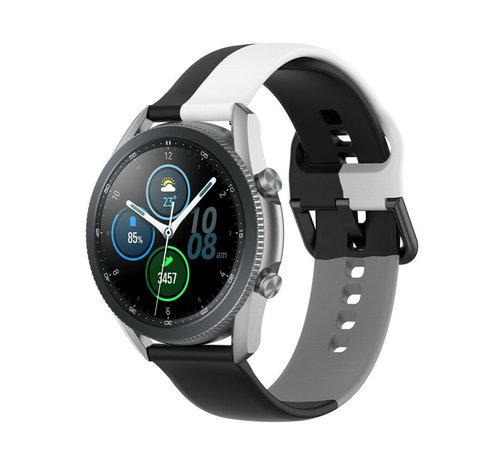 Strap-it® Strap-it® Samsung Galaxy Watch 3 45mm triple sport band (zwart-wit-grijs)