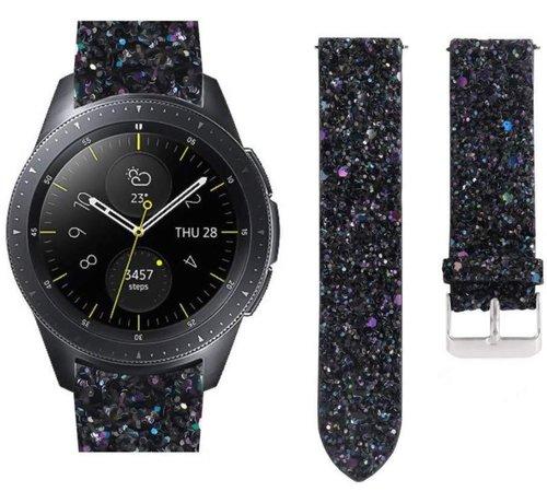 Strap-it® Strap-it® Samsung Galaxy Watch 42mm leren glitter bandje (zwart)