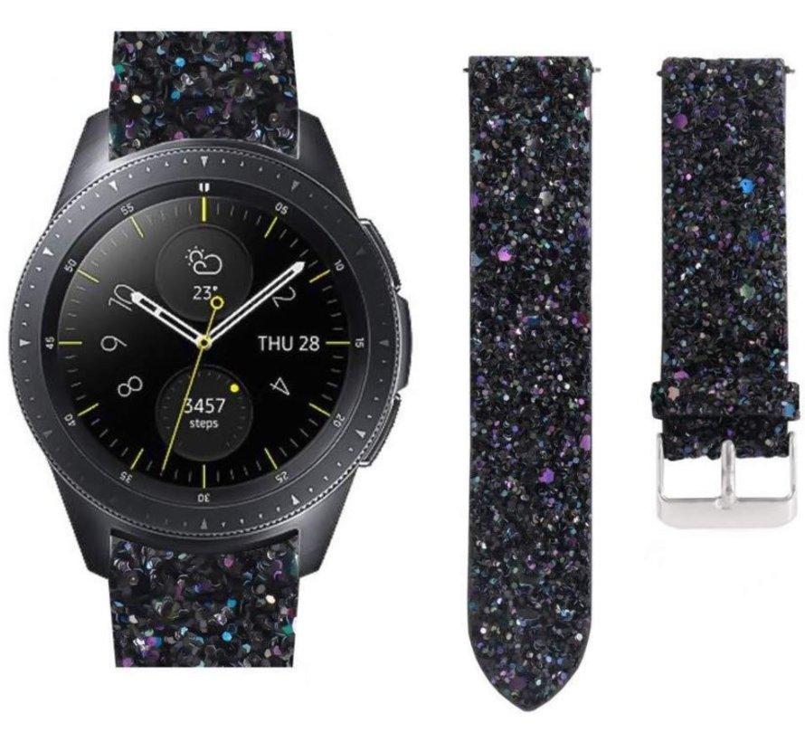 Strap-it® Samsung Galaxy Watch 42mm leren glitter bandje (zwart)