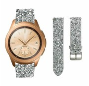 Strap-it® Samsung Galaxy Watch 42mm leren glitter bandje (zilver)