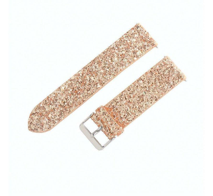 Strap-it® Samsung Galaxy Watch 42mm leren glitter bandje (rosé goud)