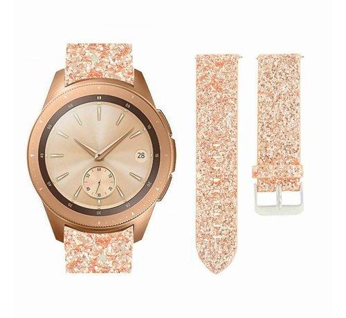 Strap-it® Strap-it® Samsung Galaxy Watch 42mm leren glitter bandje (rosé goud)