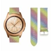 Strap-it® Samsung Galaxy Watch 42mm leren glitter bandje (regenboog)
