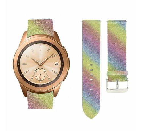 Strap-it® Strap-it® Samsung Galaxy Watch 42mm leren glitter bandje (regenboog)