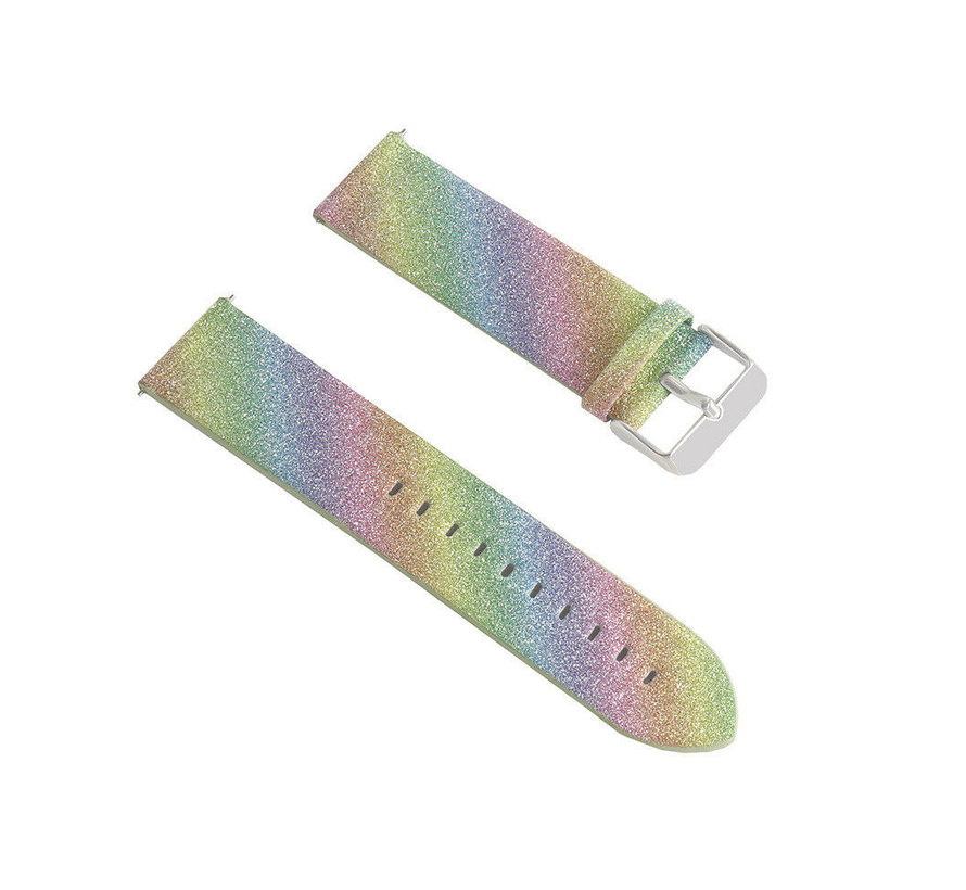 Strap-it® Samsung Galaxy Watch 3 41mm leren glitter bandje (regenboog)