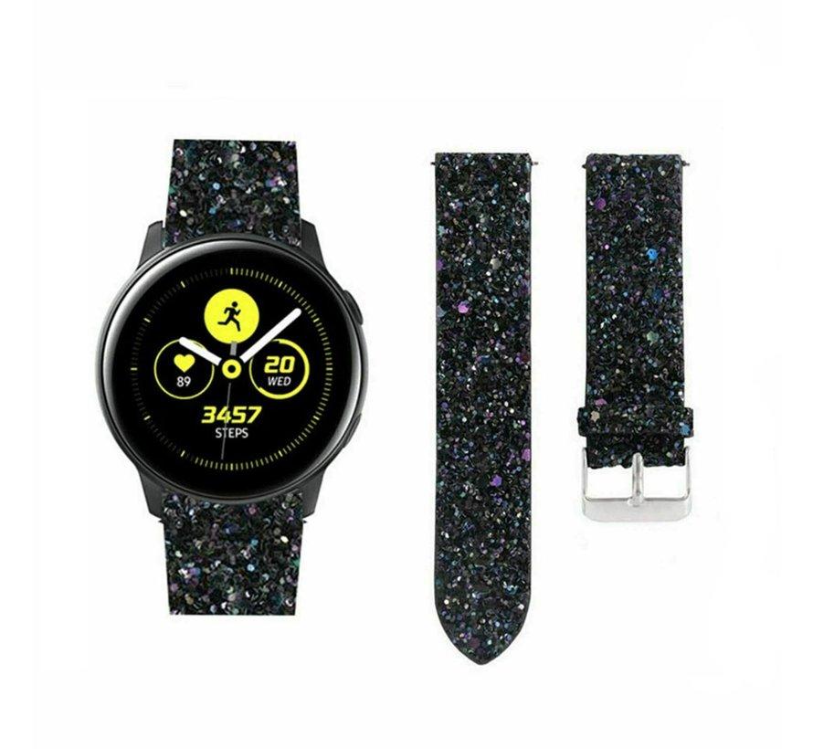 Strap-it® Samsung Galaxy Watch Active leren glitter bandje (zwart)