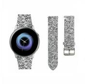 Strap-it® Samsung Galaxy Watch Active leren glitter bandje (zilver)