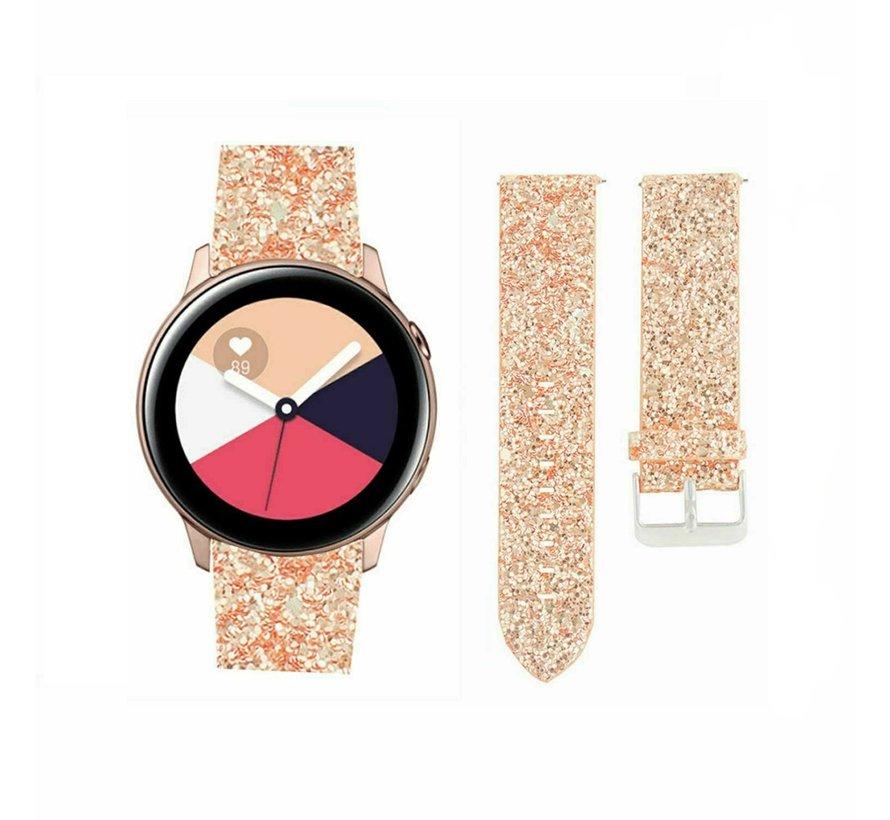 Strap-it® Samsung Galaxy Watch Active leren glitter bandje (rosé goud)