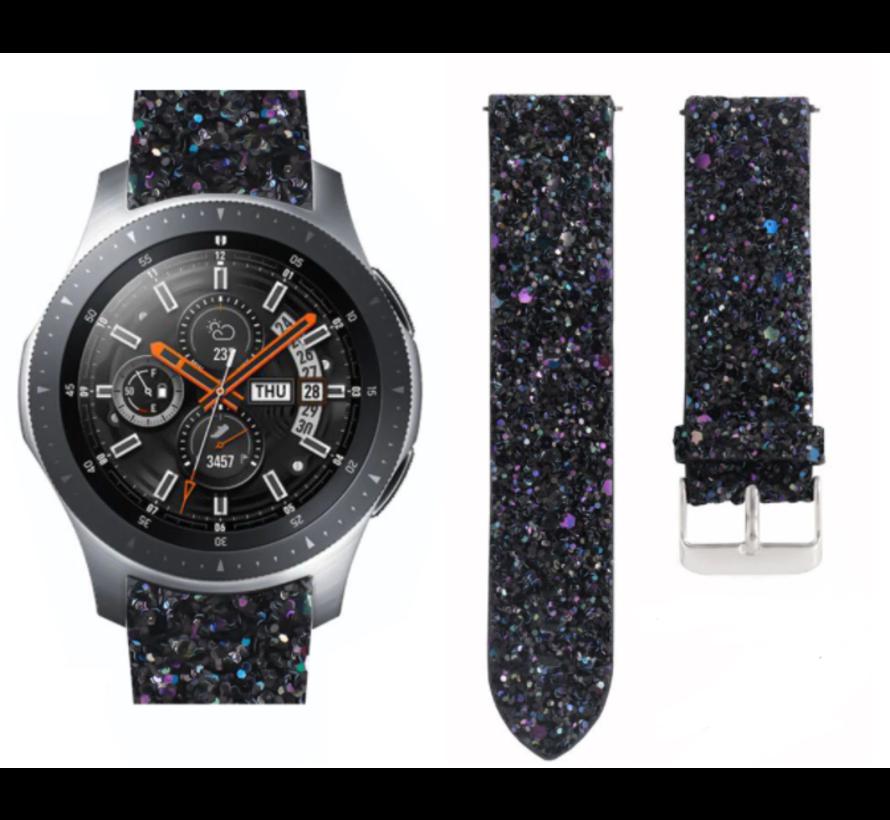 Strap-it® Samsung Galaxy Watch 46mm leren glitter bandje (zwart)