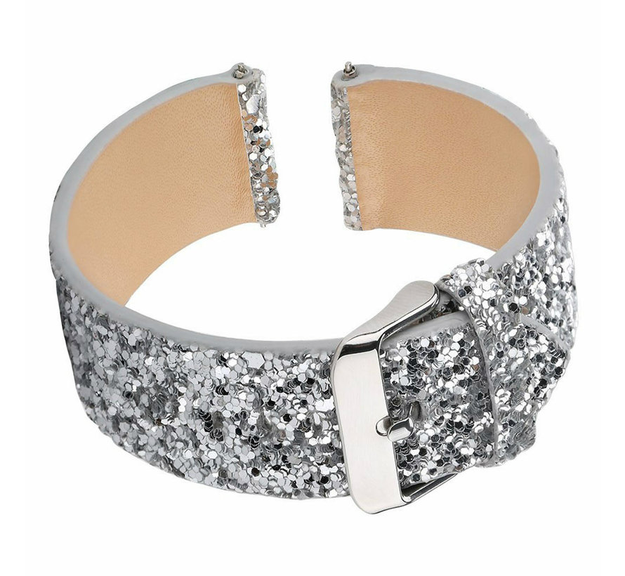 Strap-it® Samsung Galaxy Watch 46mm leren glitter bandje (zilver)