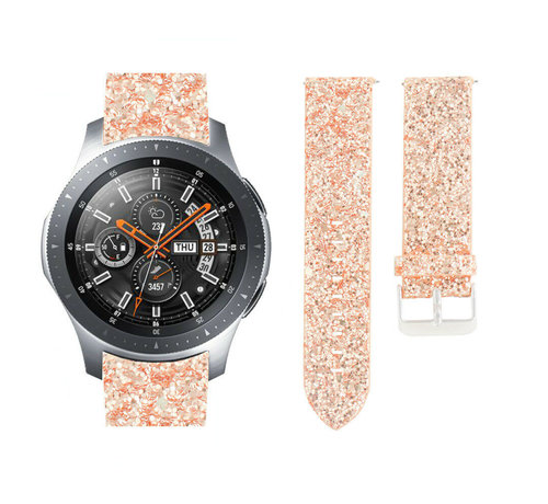 Strap-it® Strap-it® Samsung Galaxy Watch 46mm leren glitter bandje (rosé goud)