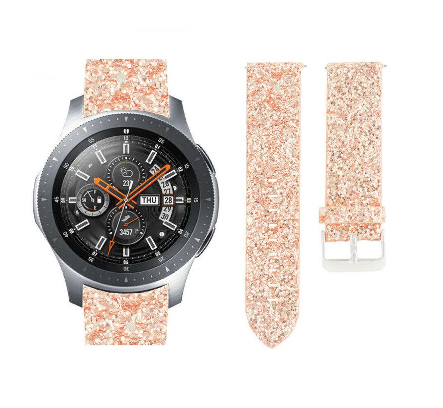 Strap-it® Samsung Galaxy Watch 46mm leren glitter bandje (rosé goud)