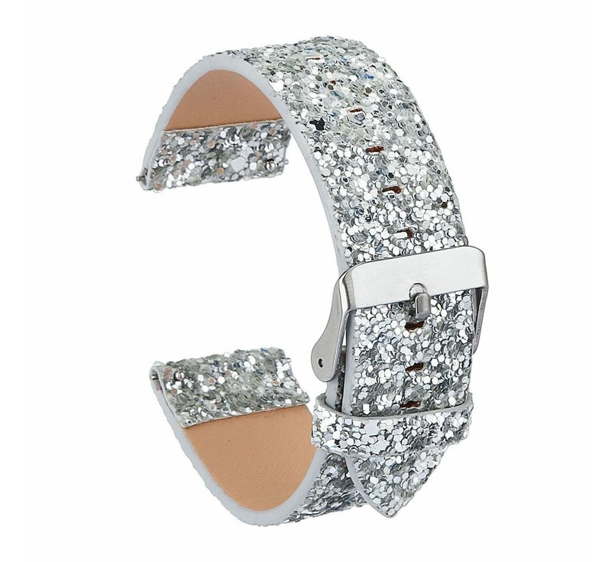 Strap-it® Samsung Galaxy Watch 3 45mm leren glitter bandje (zilver)