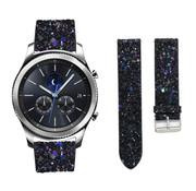 Strap-it® Samsung Gear S3 leren glitter bandje (zwart)