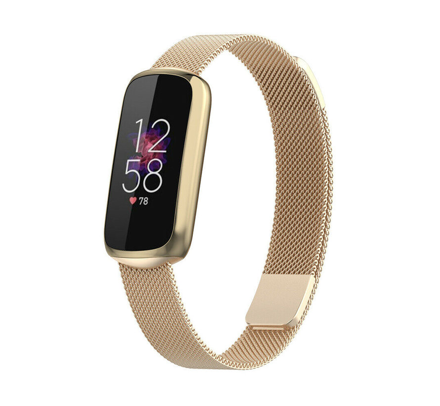 Strap-it® Fitbit Luxe Milanese band (champagne goud)