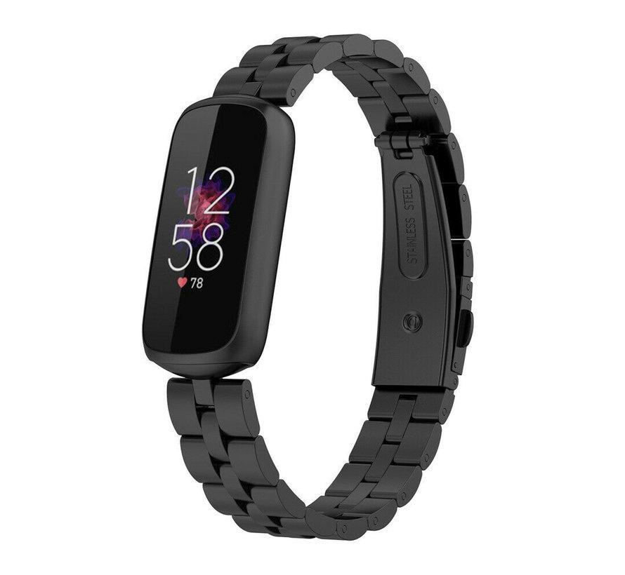 Strap-it® Fitbit Luxe stalen band (zwart)
