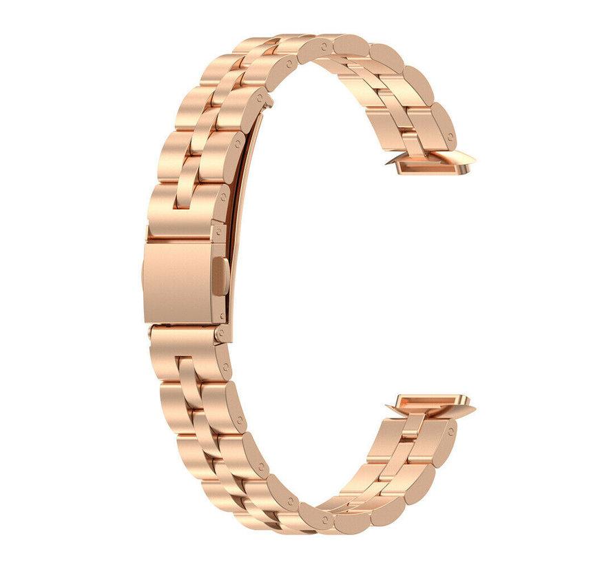 Strap-it® Fitbit Luxe stalen band (rosé goud)
