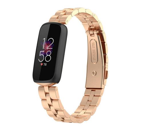 Strap-it® Strap-it® Fitbit Luxe stalen band (rosé goud)