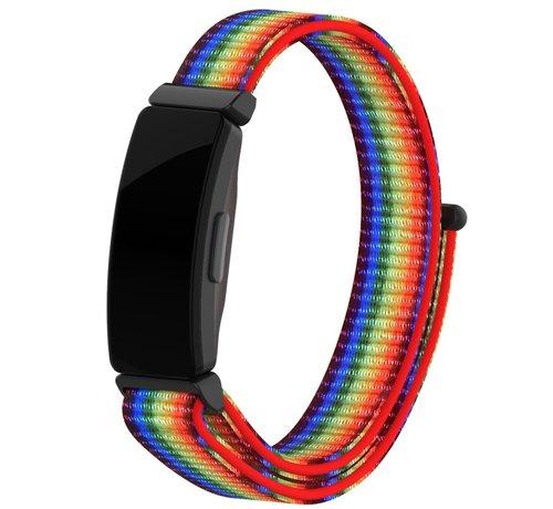 Strap-it® Strap-it® Fitbit Inspire nylon bandje (regenboog)