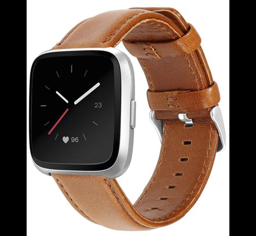 Strap-it® Strap-it® Fitbit Versa leren bandje (bruin)