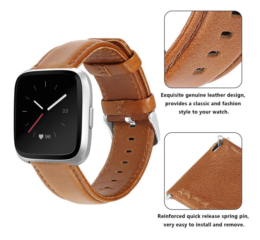 Strap-it® Fitbit Versa leren bandje (bruin)