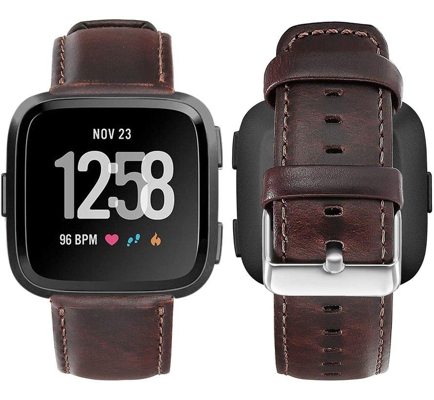 Strap-it® Fitbit Versa leren bandje (donkerbruin)
