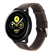 Strap-it® Samsung Galaxy Watch active leren bandje (donkerbruin)