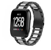 Strap-it® Fitbit Versa stalen bandje (zwart/zilver)