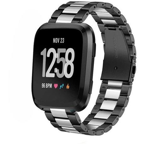 Strap-it® Strap-it® Fitbit Versa stalen bandje (zwart/zilver)