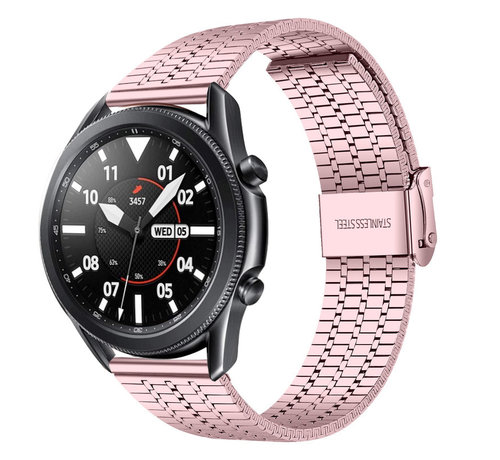 Strap-it® Strap-it® Samsung Galaxy Watch 3 45mm roestvrij stalen band (rosé pink)