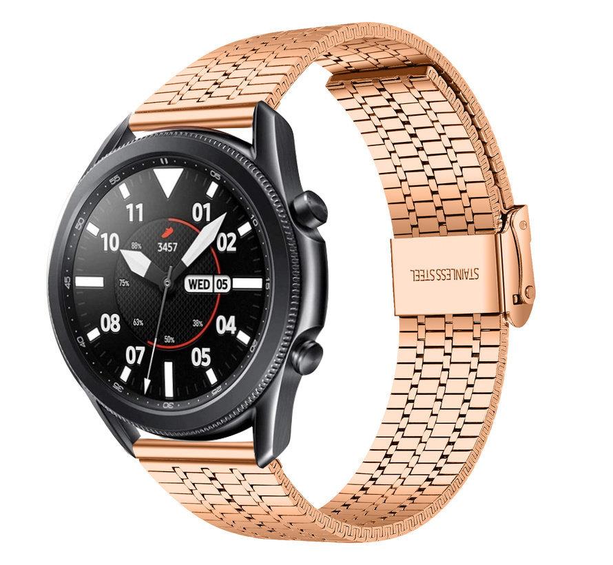 Strap-it® Samsung Galaxy Watch 3 45mm roestvrij stalen band (rosé goud)