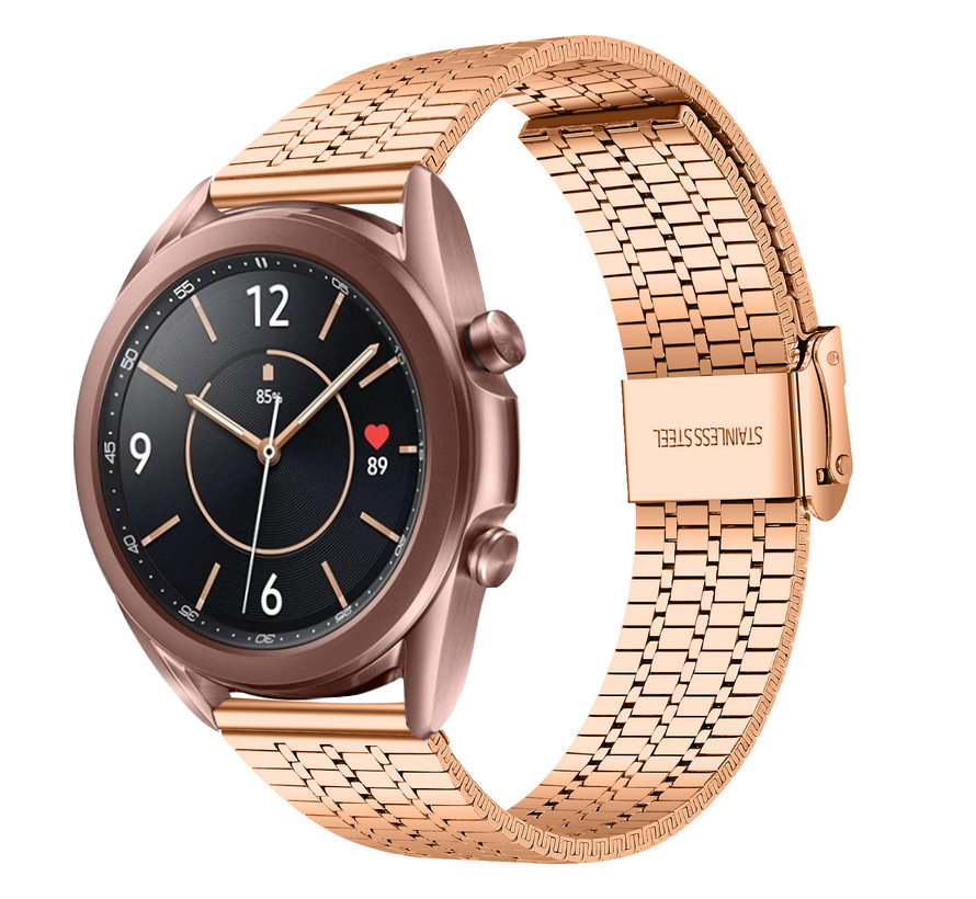 Strap-it® Samsung Galaxy Watch 3 41mm roestvrij stalen band (rosé goud)