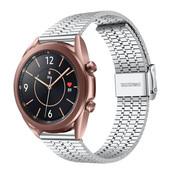 Strap-it® Samsung Galaxy Watch 3 41mm roestvrij stalen band (zilver)