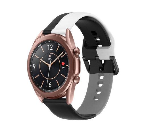 Strap-it® Strap-it® Samsung Galaxy Watch 3 41mm triple sport band (zwart-wit-grijs)