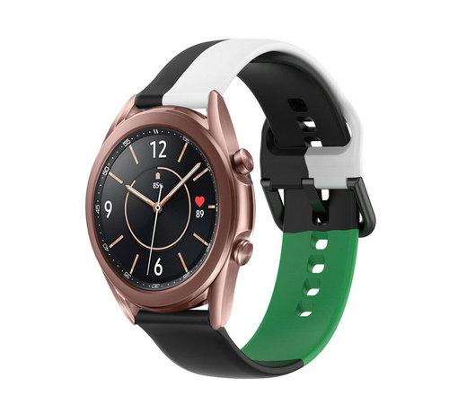 Strap-it® Strap-it® Samsung Galaxy Watch 3 41mm triple sport band (zwart-wit-groen)