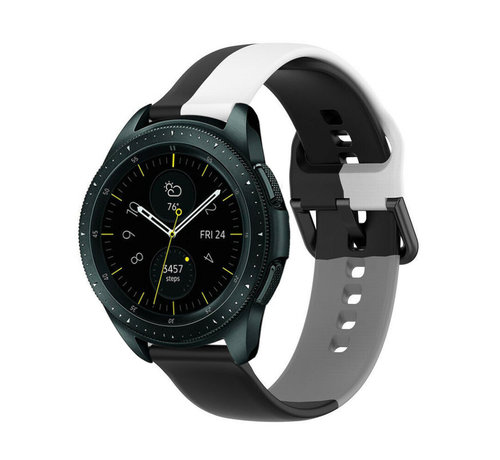 Strap-it® Strap-it® Samsung Galaxy Watch 42mm triple sport band (zwart-wit-grijs)
