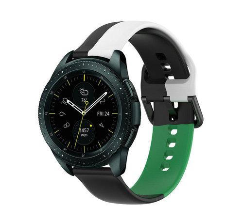 Strap-it® Strap-it® Samsung Galaxy Watch 42mm triple sport band (zwart-wit-groen)