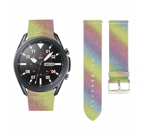 Strap-it® Strap-it® Samsung Galaxy Watch 3 45mm leren glitter bandje (regenboog)