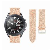 Strap-it® Samsung Galaxy Watch 3 45mm leren glitter bandje (rosé goud)