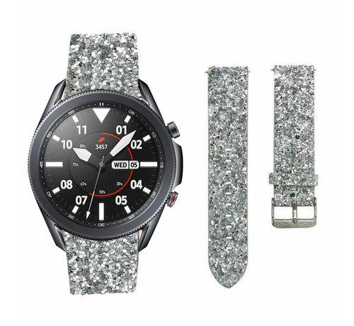 Strap-it® Strap-it® Samsung Galaxy Watch 3 45mm leren glitter bandje (zilver)