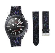 Strap-it® Samsung Galaxy Watch 3 45mm leren glitter bandje (zwart)