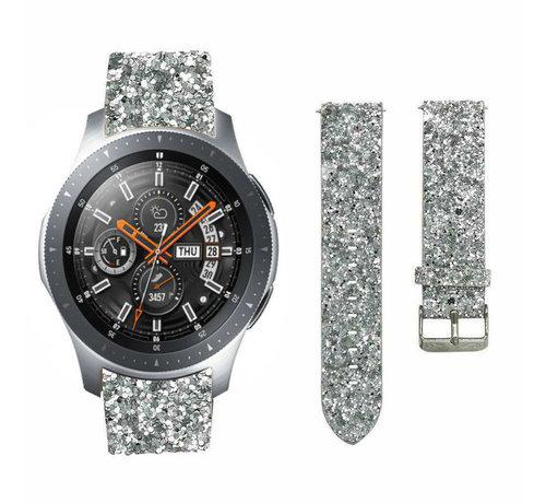 Strap-it® Strap-it® Samsung Galaxy Watch 46mm leren glitter bandje (zilver)