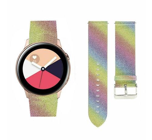 Strap-it® Strap-it® Samsung Galaxy Watch Active leren glitter bandje (regenboog)