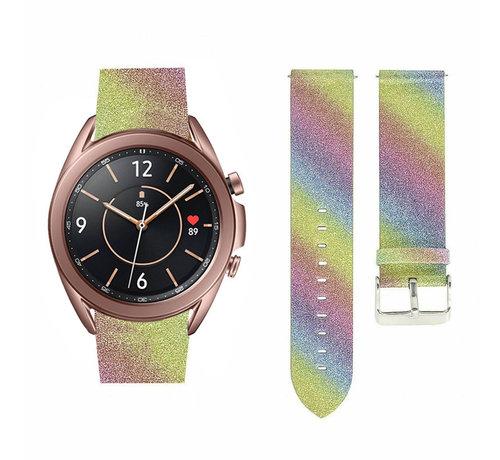 Strap-it® Strap-it® Samsung Galaxy Watch 3 41mm leren glitter bandje (regenboog)