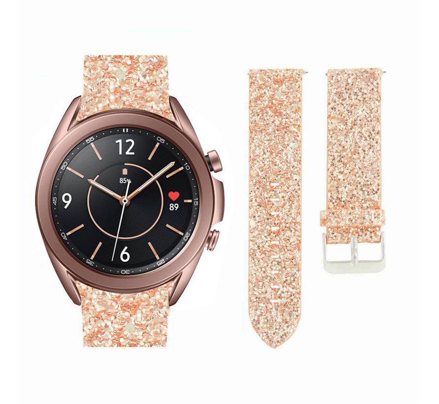 Strap-it® Samsung Galaxy Watch 3 41mm leren glitter bandje (rosé goud)